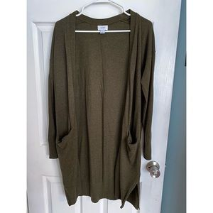 Old Navy LS Olive Green long Cardigan w/pockets